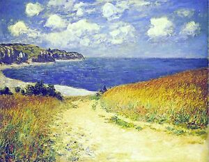 CLAUDE MONET beach seaside canvas picture print 12x16 inch stretched over frame