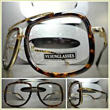 Men Women VINTAGE RETRO Style Clear Lens EYE GLASSES Tortoise Gold Fashion Frame