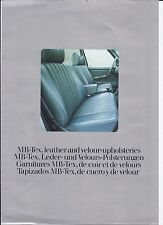 1977 MERCEDES BENZ LEATHER AND VELOUR UPHOLSTERIES COLORS BROCHURE