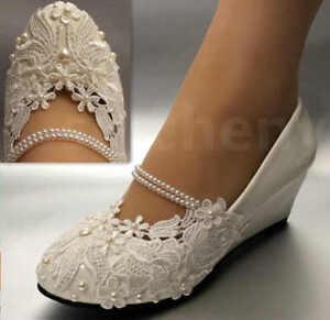 Su.cheny Weißes Licht Elfenbein Spitze Hochzeit Schuhe Flach Keilabsatz Größe