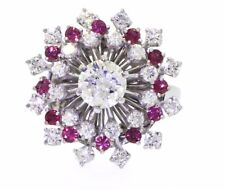EGL 14k gold 1.76ct diamond ruby cluster cocktail ring 0.80ct cntr $7,685 retail