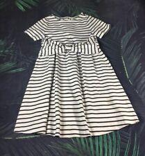Kate Spade Childrens Black & White Bow Detail Short Sleeve Striped Dress - 10
