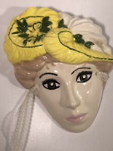 """Vintage Ceramic Porcelain Face Mask  Wall With  Lace 9.5"""""""