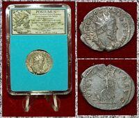 Ancient Roman Empire Coin POSTUMUS Victory On Reverse Silvered Antoninianus