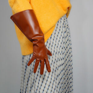 LONG GLOVES Unisex Sugar Tan Brown Faux Leather 38cm Wide Balloon Puff Sleeves L