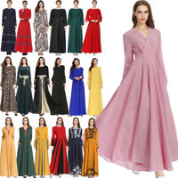 Muslim Kaftan Vintage Women Islamic Maxi Dress Jilbab Cocktail Party Long Robe