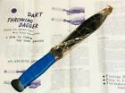 Vintage Blue Dart Throwing Knife Dagger Made in Japan With Instruction Sheet