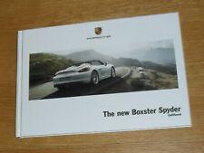Porsche Boxster Spyder 981 Hardback Brochure 2015-2016 - UK Market