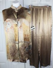 Womens Marnie West Size Large 2 piece metallic gold Holiday Pant & Tunic Top set