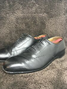 E.T Wright Sz 14 EEE EX WIDE Whole Cut Brouge Oxford Black Dress Shoes 146