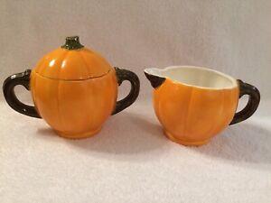 Handpainted Ceramic Pumpkin Sugar and Creamer Set