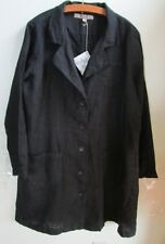 FLAX Designs  LINEN JACKET  L  NWT  Traveler  Duster Jacket BLACK
