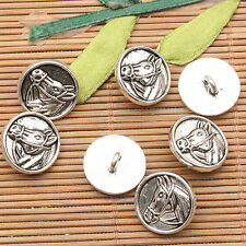 10pcs tibetan silver color horse head pattern round button design charms EF2577