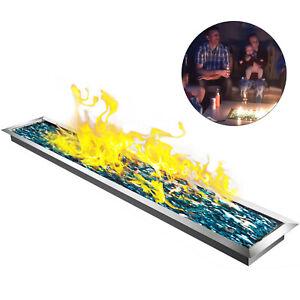 Gaskamin Grill Feuerschale 125x20cm Feuerkorb Garten Außenkamin Einbautischfeuer