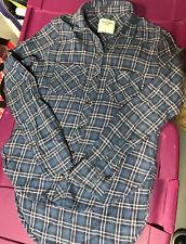 Abercrombie Kids -100% Cotton Girls Classic Flannel Shirt Pink Blue EUC Sz L