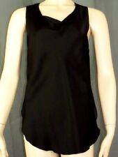 Size 4 PHILLIP LIM 3.1 Black Stretch Silk Blouse Top Sleeveless Asymmetrical