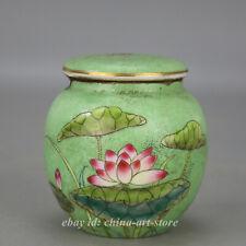 """3.5"""" China Porcelain Green Glaze Famille Rose Lotus Flower Leaf Tea Canister Pot"""