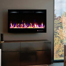 2017 36 INCH WIDE LED FLAMES BLACK GLASS TRUFLAME WALL MOUNTED ELECTRIC FIRE