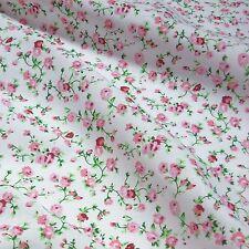 Blanco Tela polycotton Con Delicadas Flores Rosa * Por Metro