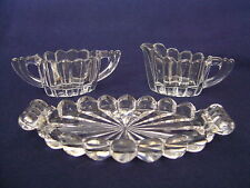 HEISEY CRYSTOLITE CREAM SUGAR TRAY SET GLASS CRYSTAL VINTAGE ORIGINAL MARKED