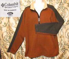 Columbia 1/2 Zip Pullover Fleece Sweater Jacket Men's 2XL Brown w Gray & White