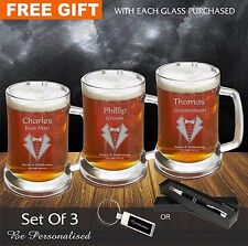 3 X Personalised Engraved 500ml Beer Mug Tankard Glass Wedding Favour Groomsman