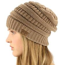 Unisex Winter Chunky Soft Stretch Cable Knit Slouch Beanie Skully Ski Hat Taupe