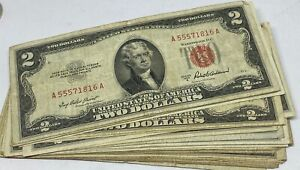 Lot of 10 - 1963 $2.00 $2 Two Dollar - Red Seal - Legal Tender Notes Collection