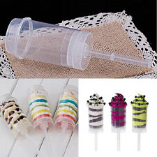 6 Plastic Push Pop Containers w/Lids Cake Shooters Push Up Pops Cake Containers