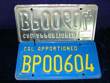 """1982 California Apportioned IRP License Plate ID Tag """"BP00604"""" Tractor-Truck"""