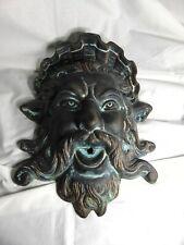 Vintage Cast Iron Neptune Poseidon Fountain Head Vintage Garden Wall Decoration
