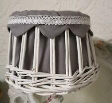 Clayre&Eef Lampenschrim Rattan Weide Shabby Chic Landhaus Vintage Nostalgie Weiß