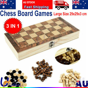 3in1 Large FOLDING WOODEN CHESS SET Board Game Checkers Backgammon Toy
