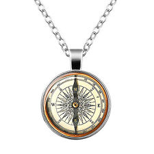 Vintage Style Glass Pendant White & Black Compass Imitation Necklace N458
