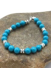 """Native American Sterling Silver Blue Turquoise Bead  Bracelet Gift 7"""" 4352 Sale"""