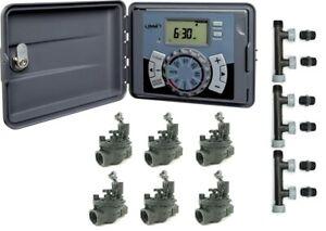 Orbit 6 Station Outdoor Controller Easy Set +  6 Watermark Solenoids + Manifolds