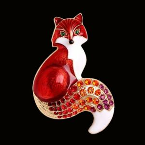 Fashion Rhinestone Red Fox Brooch Pin  Animal  Art Jewelry Xmas Party Gift Women