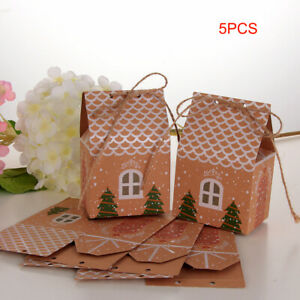 5pcs Christmas Candy Gift Bags Xmas Cookie Bag Packaging Party Boxes Sweets Box