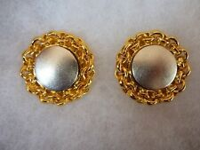 """Vintage Retro Modernist Signed Lee Wolfe 1992""""  Clip On Earrings Gold Silver"""