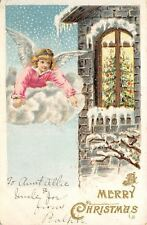 Christmas~Angel On Cloud Peeks in 2nd Story Window at Decorated Tree~Emboss~1907