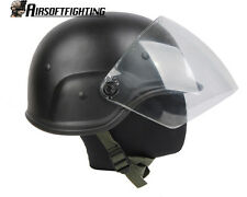 Airsoft M88 PASGT Kelver Swat Helmet with Clear Visor Black