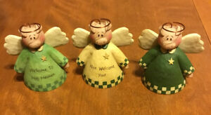 Set Of 3 Pig Angels Blossom Bucket Resin Figurines By Suzi Skoglund