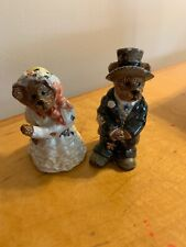 Boyd's Bears Wedding Bride & Groom Salt & Pepper Shaker Set Bearware Pottery B67