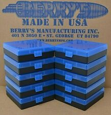 (10) 9 Mm / 380 Ammo Boxes / Storage 100 (Blue / Black) Berry Mfg Fast Shipping
