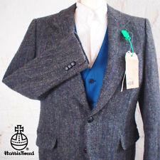 38R HARRIS TWEED Blazer Jacket Vintage Blue Herringbone Hacking Wedding #210