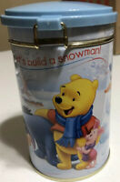 """Winnie the Pooh Tin Canister """"Let's Build a Snowman!"""" With locking lid."""