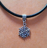 Black Leather Choker Necklace with Silver Snowflake Charm - New - UK Seller
