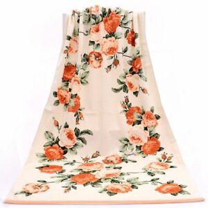 Bath Towel Floral Printed Large Towels Beach Cloth Cotton Shower Rose Washcloths