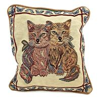 Vtg Handmade Needlepoint Embroidered Cats Kitten Decor Throw Pillow 12 X 12