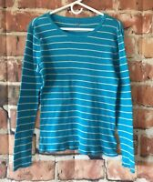 Tommy Hilfiger Thermal Top Womens Size XXL Cotton Long Sleeve Blue Striped (C08)